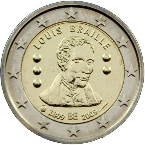 "2 Euro Belgien 2009 ""Louis Braille"""