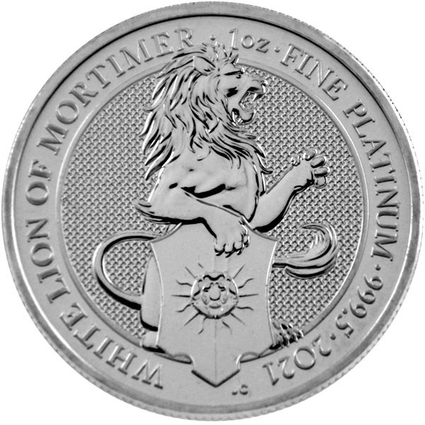 1 Oz Platin - Großbritannien - Queens Beasts: White Lion of Mortimer 2021