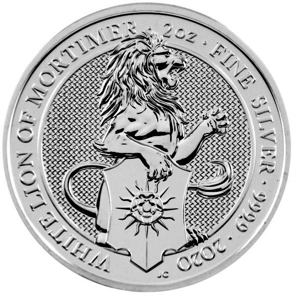 2 Oz Silber - Großbritannien - Queens Beasts: White Lion of Mortimer 2020