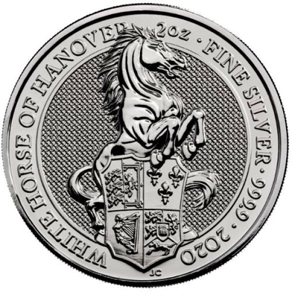 2 Oz Silber - Großbritannien - Queens Beasts: White Horse of Hanover 2020