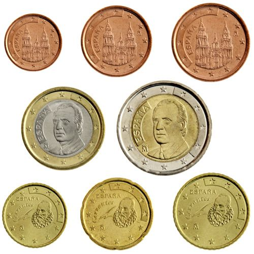 "KMS Spanien 2001 ""1 Cent - 2 Euro"" lose"